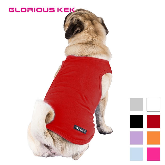 54dc04fcc694 Summer Pet Clothes Blank Dog Shirts V-Collar Puppy Soft Cotton Plain Vest T-Shirt  Pet Cat Clothing Black Red Pink S-XXL