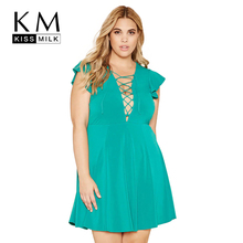Kissmilk Plus Size New Fashion Women Clothing Casual Cross Front Drawstring Dress A-line Slim Big 3XL 4XL 5XL 6XL