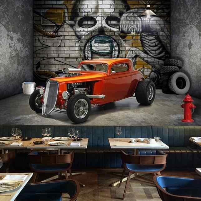 Murais De Parede Papel De Parede personalizado 3D Estereoscópico Criativo Carro Espaço Crânio Rua Graffiti Art Restaurant Fundo Pintura de Parede
