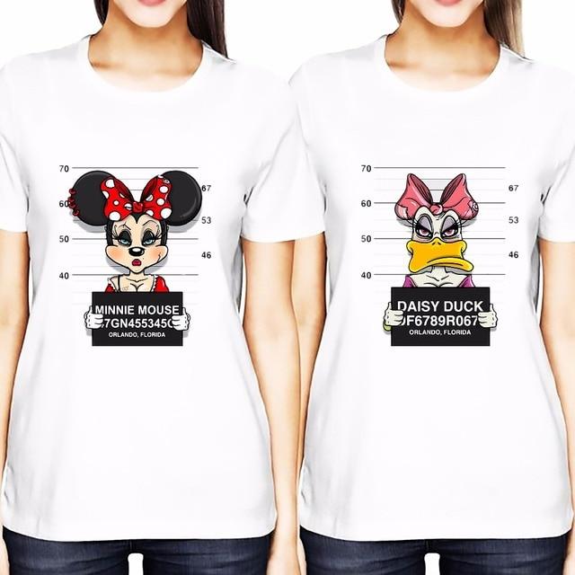 Goofy Daisy Be Arrested Best Friends T Shirt Women 2017 Summer Tshirt Femme  Short Sleeve O