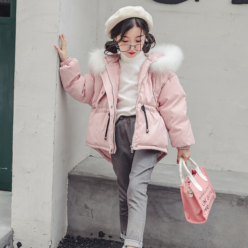 2018 Girls Winter Coats Teenagers Fur Collar Hooded Cotton Padded Baby Girl Clothes Down Jackets Parkas 4 5 6 7 8 9 10 11 12 13 цена