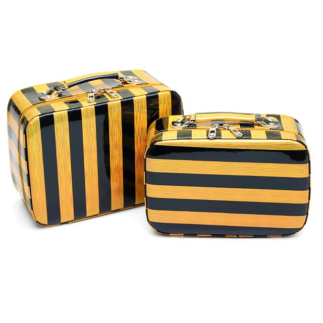 Caja cosmética profesional cosmético del bolso de 2017 nueva mujer de la raya de las mujeres de gran capacidad de bolsa de viaje del bolso del almacenaje de la pu de maquillaje