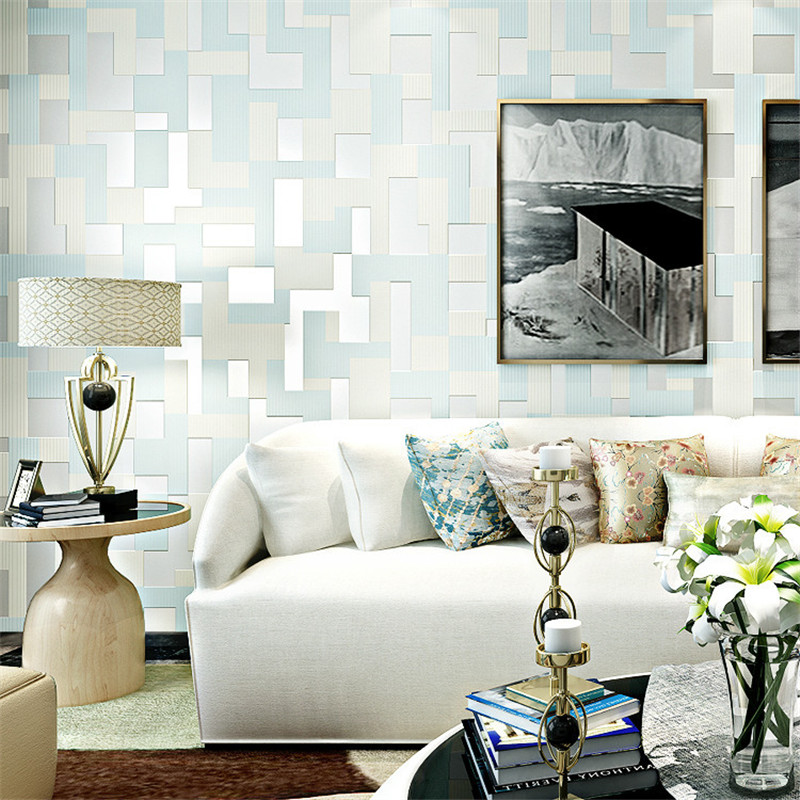 beibehang 3D mosaic living room TV background wall paper thicker non-woven fashion bedroom bedside wallpaper papel de parede