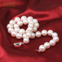 925 silver real natural big 9-12mm Zhuji special offer natural freshwater cultured pearl necklace round light send my mother a g