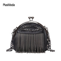 Punk Style Women Bag PU Leather Handbag with Rivet and Tassel Purse Women's Shoulder Bags Small Cross Body Bag Chain