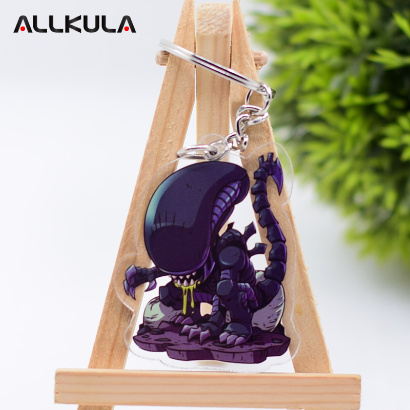 2018 <font><b>Alien</b></font> Action Figure for Keychain AVP Customized Double Sided Game Peripherals Best Gift AKL177 image