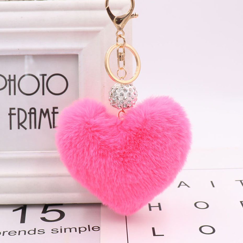 1pc Fashion Drill Ball Love Heart Shaped Plush Keychain Pendant Drill Ball Heart Car Bag Pendant Plush Toys Plush Keychains Toys & Hobbies