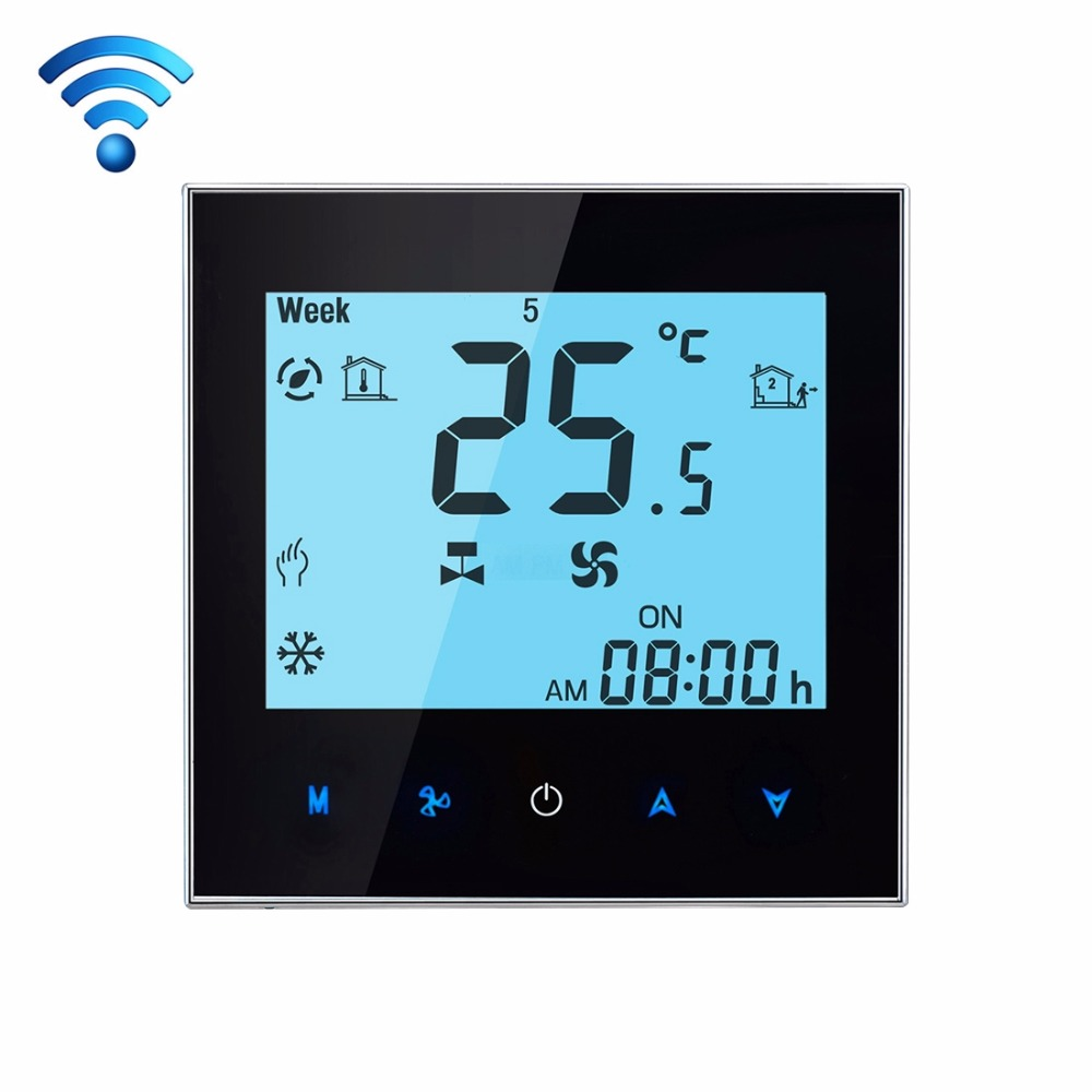 Touchscreen LCD Display Air Conditioning Programmable Wifi Thermostat For Smart Home Wifi Controller Contact Smart Phone dc 24v touchscreen programmable modbus boiler thermostat for on