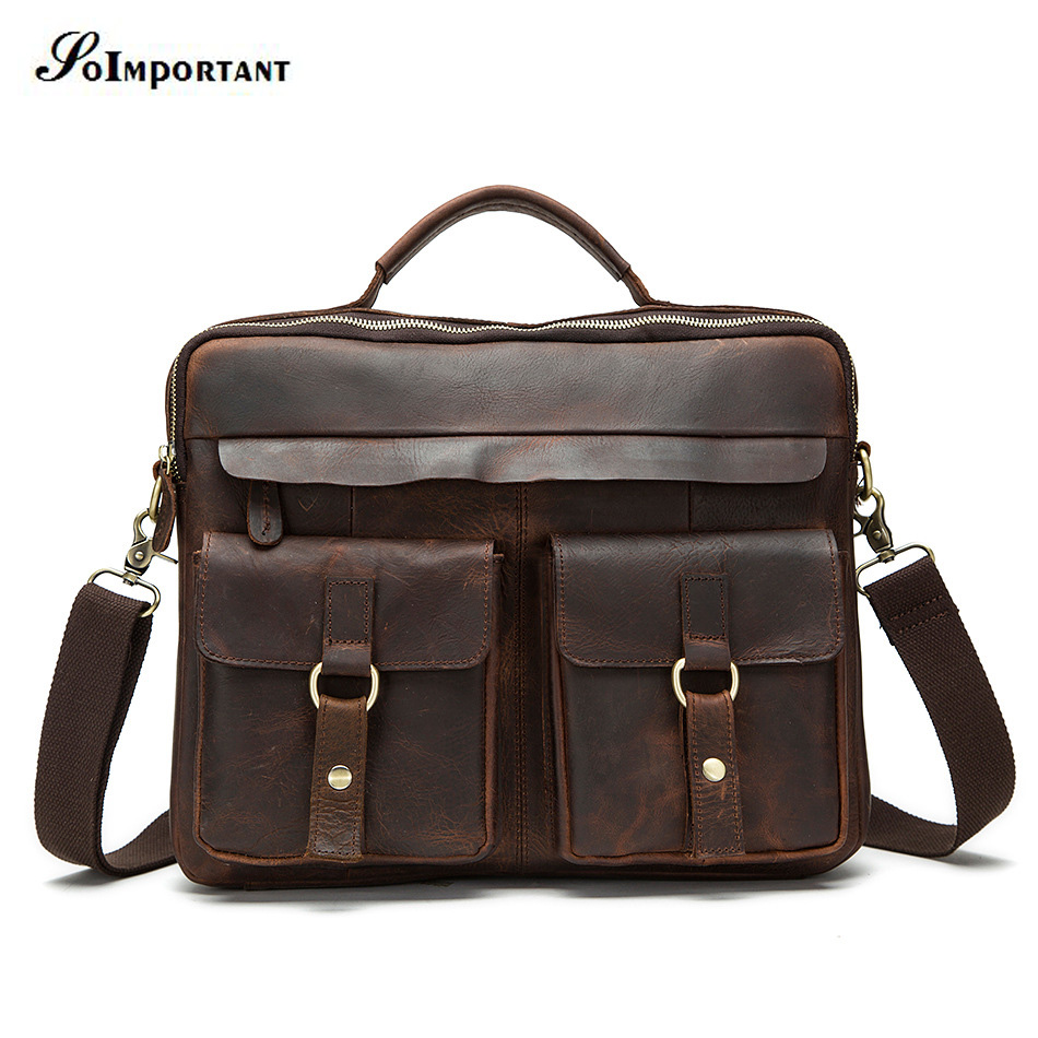 Laptop Bag Genuine Leather Men Handbags Cowhide Business Men's Shoulder Messenger Cross Body Bag Tote Bolsa De Hombre Briefcase
