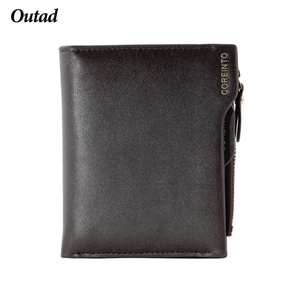 OUTAD PU Leather Short Men Wallet ID Credit Card Holder With Coin Bag Zipper Pocket Men Purse Coin Money Bag 3 Colors