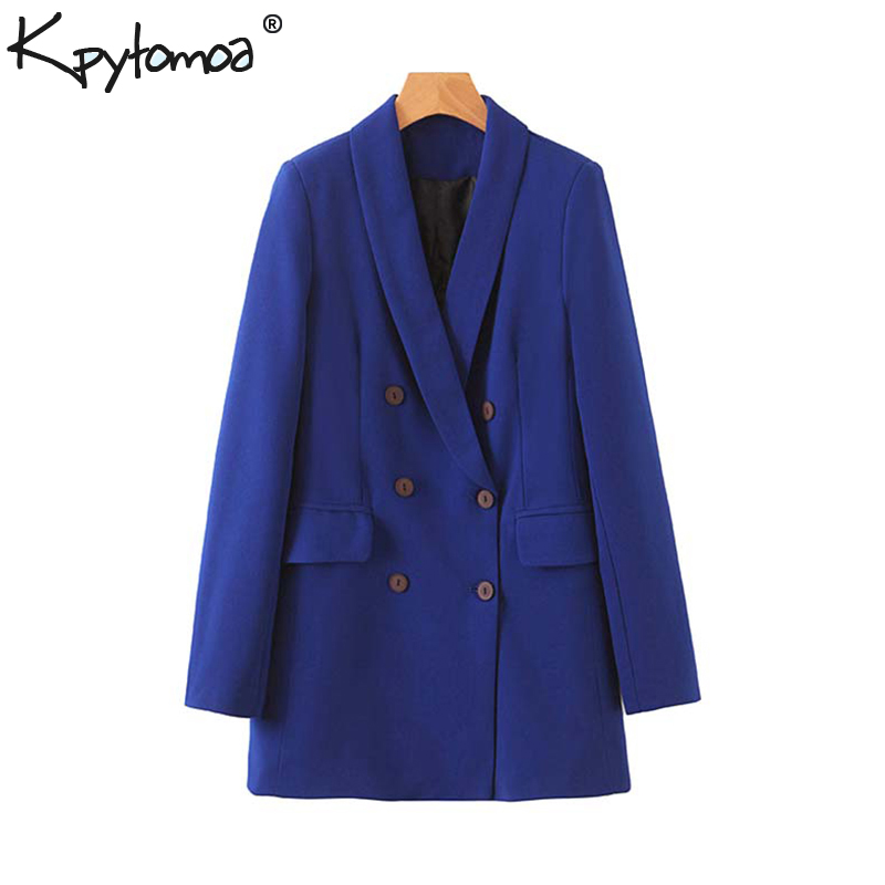 Vintage Stylish Double Breasted Office Lady Blazers Coat Women 2020 Fashion Long Sleeve Pockets Outerwear Casual Chaqueta Mujer