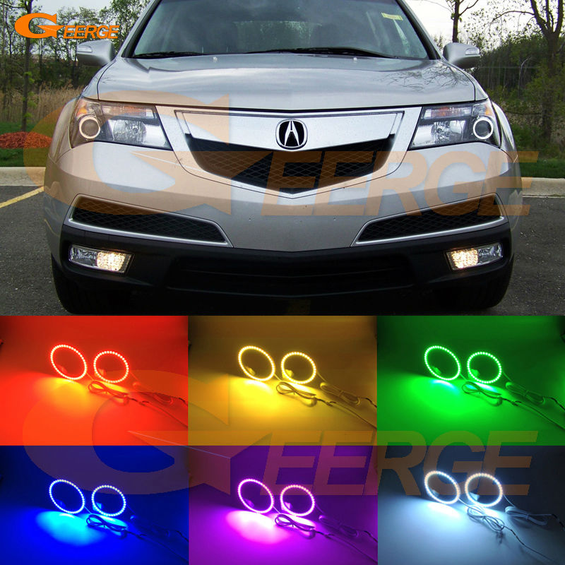 For Acura MDX 2007 2008 2009 2010 2011 2012 2013 Excellent Multi-Color Ultra bright RGB LED Angel Eyes kit Halo Rings for alfa romeo mito 2008 2009 2010 2012 2013 2014 2015 excellent multi color ultra bright 7 colors rgb led angel eyes kit