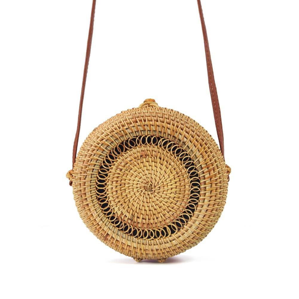 INS Style Handmade Round Rattan Bag Natural Fashion Hollow Out Woven Beach Shoulder For Women Nice Gift