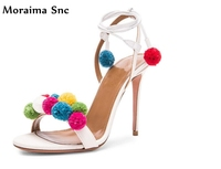 Moraima Snc colorful fur ball Decoration secy women sandals narrow band sexy high heels 2018 newest female shoes slingback