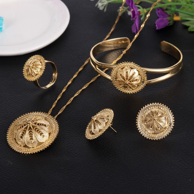 Bangrui Traditional Ethiopian Wedding Jewelry Sets Joias Ouro Gold