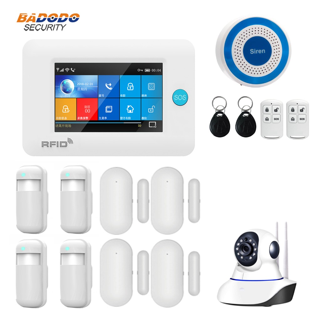 Dual network Wireless WiFi 3G GSM GPRS intelligent home Alarm system 4 3 inch Touch Screen