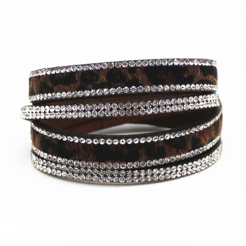 New Arrived Sexy Leopard Bling Rhinestone Double Wrap Bracelet For Women Leather Wrap Bracelet Wristband Crystal Charms Chokers 10