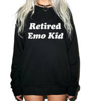 Skuggnas New Arrival Retired Emo Kid Sweatshirt Tumblr Hipster Crewneck Aesthetic Jumper Unisex Fashion Tops 90s aesthetic