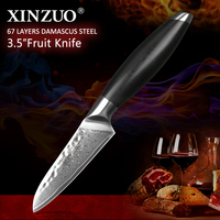 XINZUO 3.5'' inch Peeler Knife Damascus Stainless Steel Kitchen Knives Utilities Cutterly Samurai Paring Knife Table Accessories