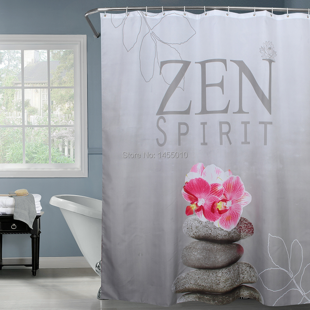 Fabric Polyester Gray ZEN SPIRIT Stone Flower Waterproof Shower Curtain Bathroom Shower curtain, 180x180cm, 180x200cm