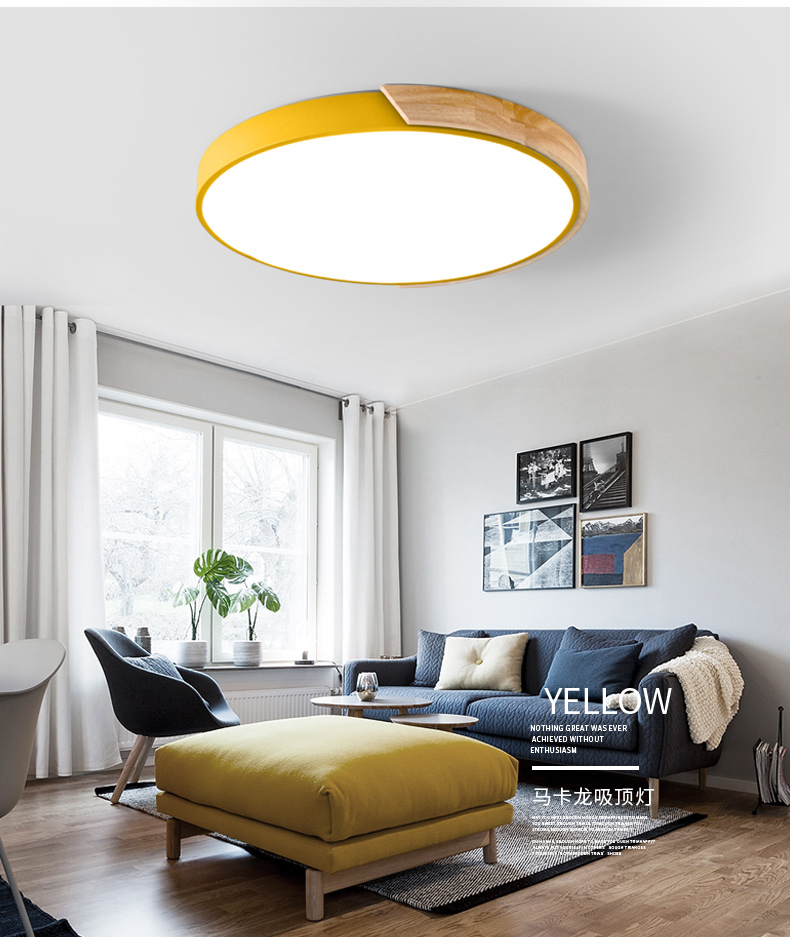 HTB1GC7ZJVmWBuNjSspdq6zugXXaV Nordic Oak App Dimmable Led Ceiling Lights Living Room Round Multicolor Alloy Led Ceiling Lamp Bedroom Led Ceiling Light Fixture