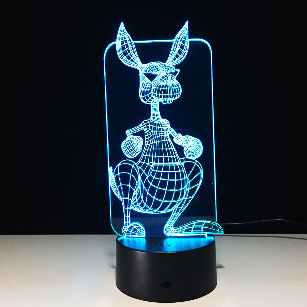 Apprehensive Kangaroo 3d Led Lamp Optical Illusion Lamps Creative Children Bedroom 7 Colors Changing Touch Switch Control Night Lights Gift High Quality And Inexpensive Lights & Lighting