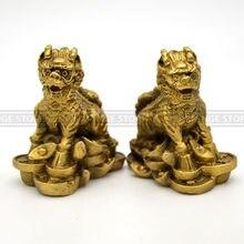 2 teile/satz Die alten Chinesischen skulptur kupfer feng shui kirin statuen Messing Innenausstattung Furn Stadthaus Kylin