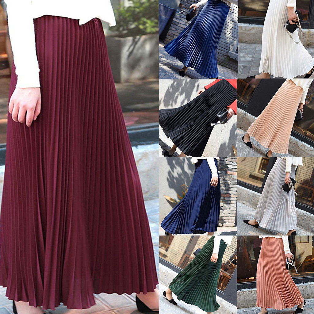 Autumn Fashion Long Pleated Skirt Womens European Style Solid Elegant Midi Elastic Waist Skirt Droppship 10 Colors Freeship