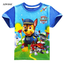 Children's summer Active Tees fashion cartoon Dog print clothing short-sleeve T-shirt for girl/boys 4-9 years kids Free shipping