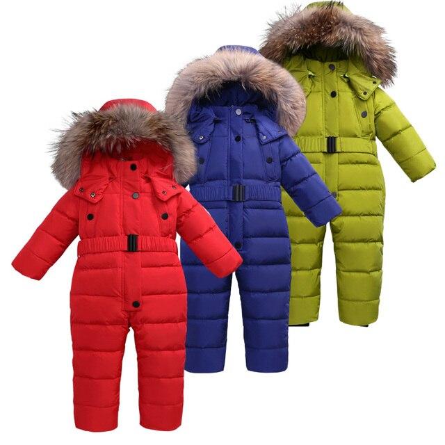 b4b782a00 3 ~ 6 t Russo Inverno Bebê Para Baixo Romper Snowsuit Menina Catsuit  Macacões para o