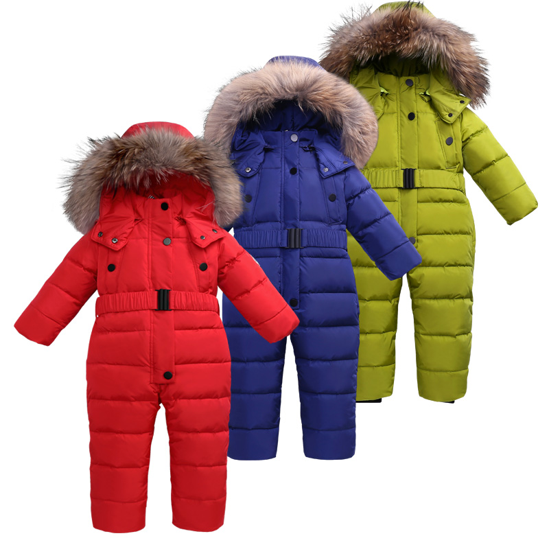цена 3~6T Russian Winter Baby Down Romper Girl Snowsuit Catsuit Overalls for Boy Kids Snow Outfit Fur Hood Fleece Rompers Kombenizon