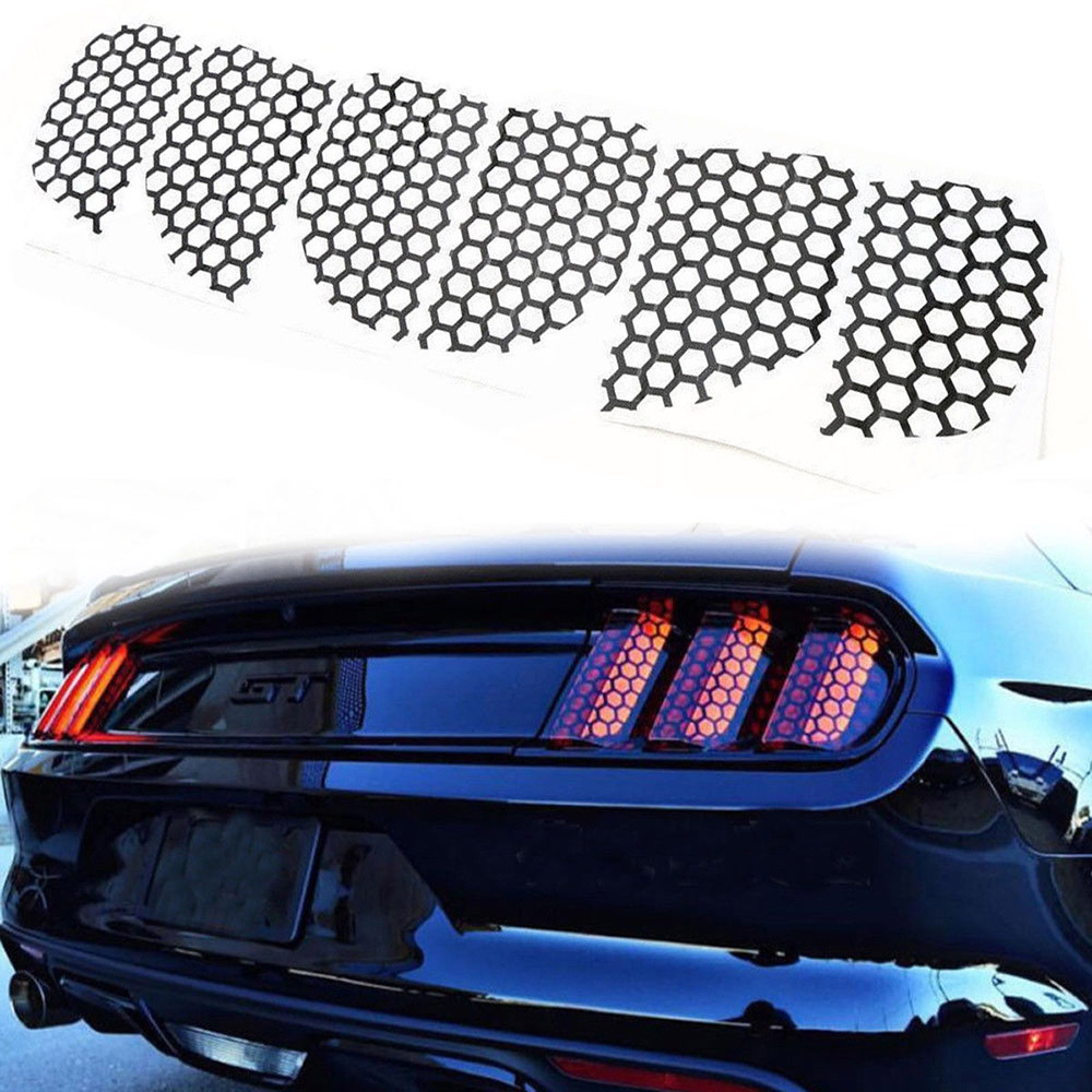 6PCS Rear Tail Light Honeycomb Style Stickers Car Sticker Honeycomb Film Taillight Cover For Ford Mustang Decoration Sticker