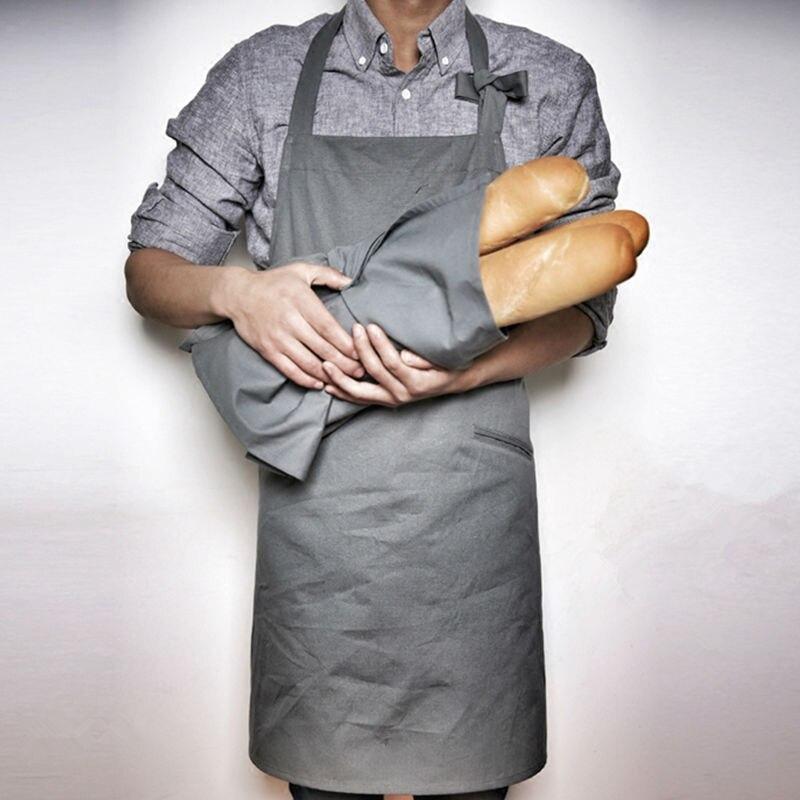 Длинный серый холщовый фартук и салфетка для готовки выпечки для изготовления одежды для работы цветочный магазин кафе бариста бистро пекарня Бар Кондитерская форма шеф-повара B26