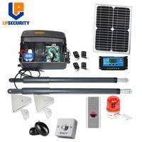 20W solar panel system 200kg per leaf 12VDC Automatic Swing Gate motor Opener Kit optional fingerprint access keypad reader
