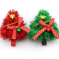 50pcs/lot Green Red Santa Tree Design Hair Pins X'mas Trees Hairwear Kid Girls Christmas Party Celebration Decoration HX552