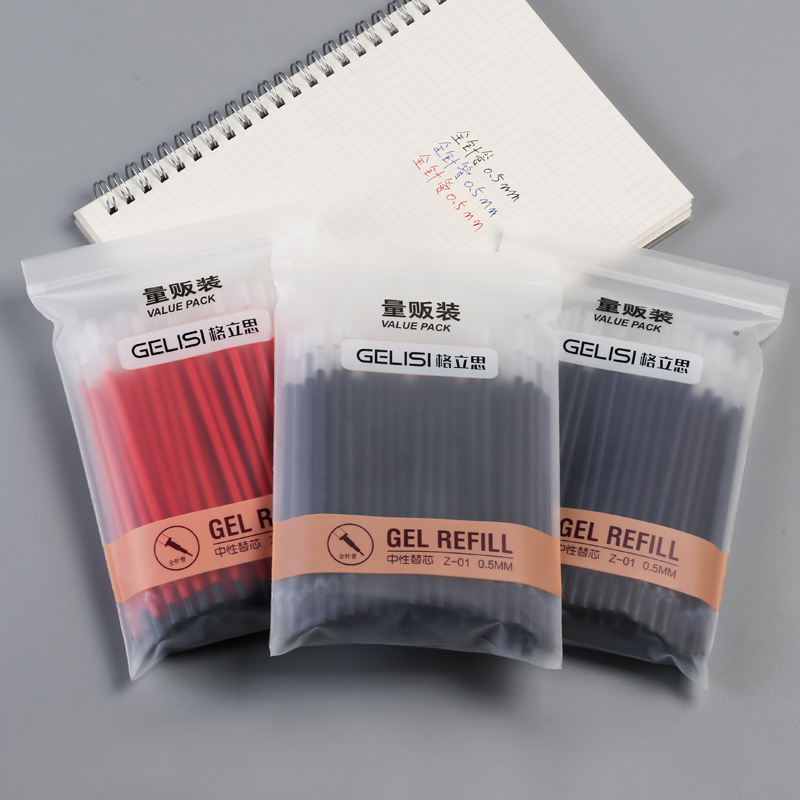 <font><b>100pcs</b></font> Gel ink <font><b>refill</b></font> replacement value pack 0.5mm ballpoint Red Black Blue color <font><b>pens</b></font> for writing Office School supplies A6175 image
