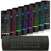 7 colori Retroilluminato MX3 I8 Mini Tastiera Senza Fili 2.4ghz Inglese Fly Air Mouse Con La Voce di Controllo Remoto di Android TV scatola PK RII