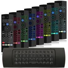 7 renk arkadan aydınlatmalı MX3 I8 Mini kablosuz klavye 2.4ghz İngilizce Fly hava fare ses uzaktan kumanda ile Android TV kutusu PK RII