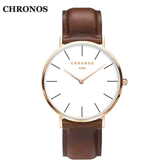 Chronos Fashion Quartz Watches Men Luxury Brand Leather Strap Men's Wrist Watch