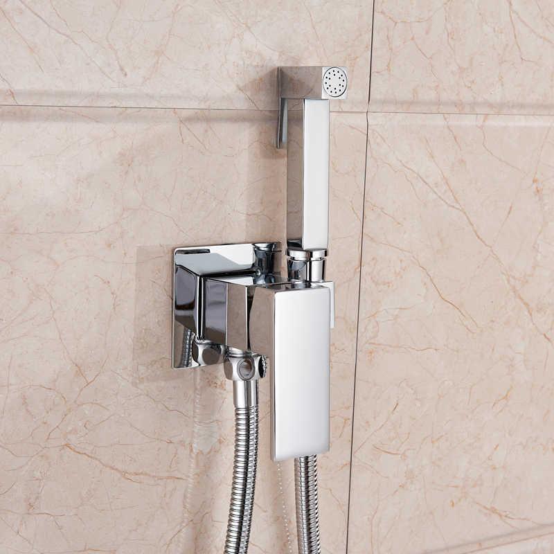 Pirinç krom bide musluk duş musluk yıkama mikser soğuk ve sıcak müslüman Ducha Higienica su mikser vinç kare sprey duş başlığı