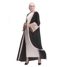 Muslim Women New Chiffon Abaya Arab Embroidery Kaftan Diamonds Cardigan Caftan Dresses without Scarf