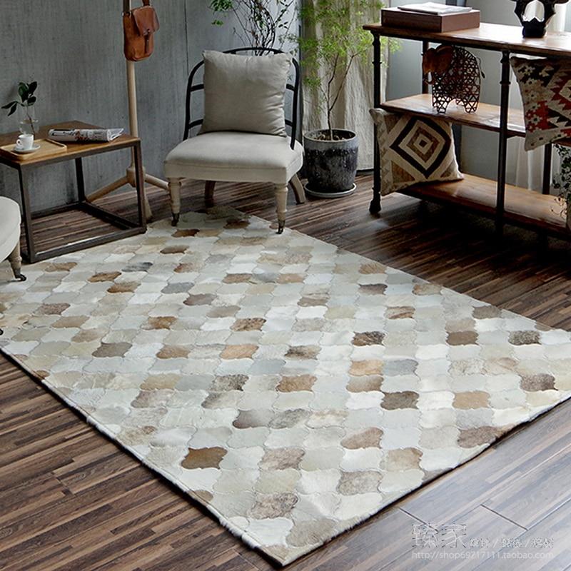 New European Style Luxurious Hand-Stitched Rug Living Room Bedroom Tea Table Big Carpets Geometric Pattern Custom Cowhide Carpet