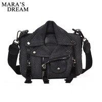 Mara S Dream Women Cool Cloth Motorcycle Bags Women Clothing Shoulder Zipper Solid Jacket Bag Messenger