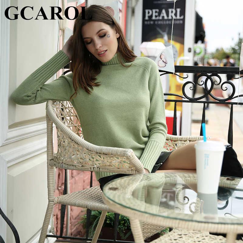 GCAROL มาถึงใหม่ฤดูหนาวหนาเสื้อคอเต่าสูง Street ถัก Pullover Basic Render เสื้อถัก