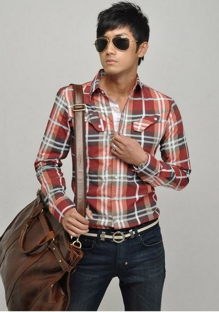 Shipping Free CHIC Mens Fashion Spring Slim Fit Checked Plaids Pocket Casual Shirt RED Size US S M L