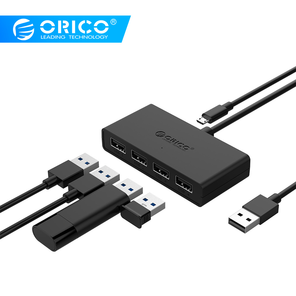 ORICO Mini 4 Port USB 2.0 HUB High Speed Micro Port HUB  for MacBook Laptop Tablet Computer -Black/White