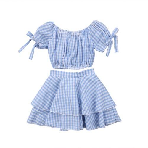 d2a4915c96b Kids Baby Girl Clothes Set Short Sleeve Summer Blue Plaid Off Shoulder Crop  Top Skirt Girls Clothing Cotton Outfits 2PCs