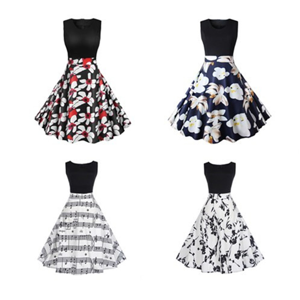 New Sexy Summer Dress Women Floral Print Patchwork Vintage Dress Hepburn 50s Elegant Party Dresses Plus Size Sundress