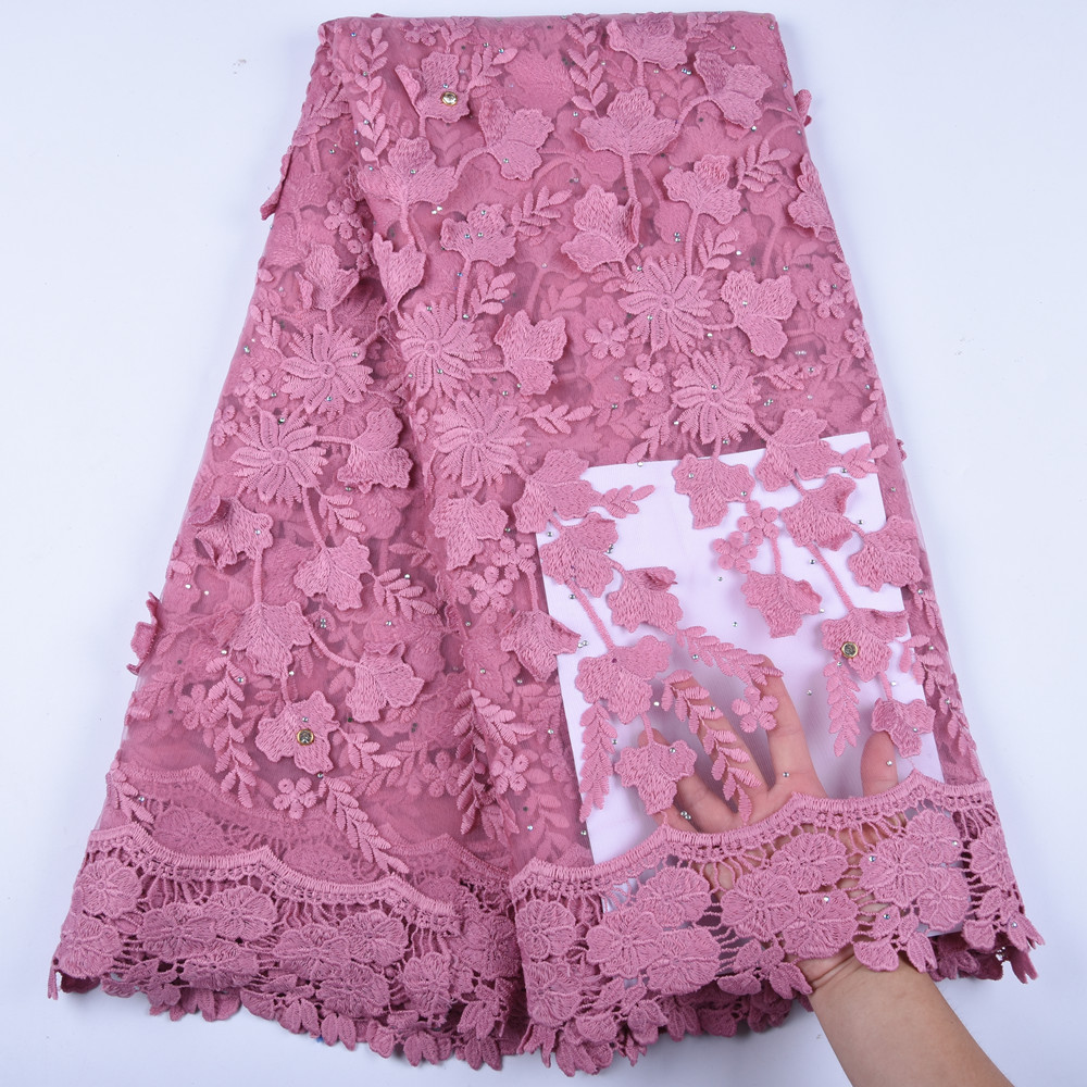 Beautiful Pink African Lace Fabrics 2019 High Quality Lace Nigerian Tulle Lace Fabric For Dress French
