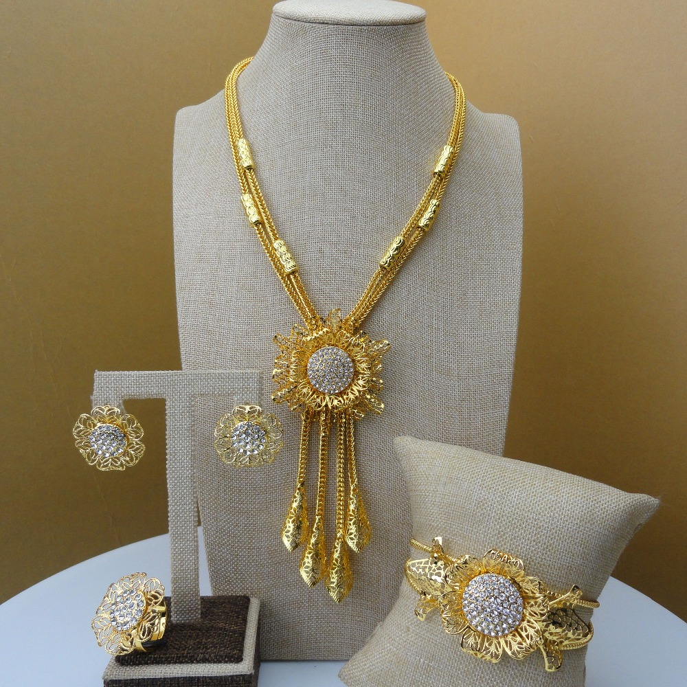 Yuminglai African Jewelry Dubai Gold Jewelry Sets Lovely Flower Design for Women FHK5574